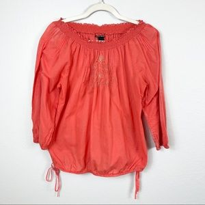 LUCKY BRAND Off The Shoulder Salmon Colored 3/4 Sleeve Embroidered Blouse Size M